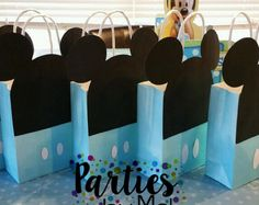 Mickey Mouse Favor Bags-Mickey party bags-Mickey Mouse treat bags-Mickey Mouse party decor-Mickey Mouse goodie bags by PartiesbyMel on Etsy Baby Mickey Mouse Cake, Festa Mickey Baby, Mickey Mouse Treats, Mickey Mouse Decorations, Mickey Party, Mickey 1st Birthdays, Mickey Mouse First Birthday, Baby First Birthday, Mickey Mouse Baby Shower