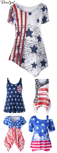 Up to 70% off. Free shipping worldwide.American Flag Asymmetric T-shirt.This casual top features full stars print and striped front pocket. Loose fit silhouette. The soft fabric can be more comfortable to wear to take part in the summer beach musical festival.#tshirts#tanktop#summer#uasflag#americanflag#rosegal