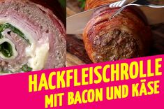 Are you ready for this minced meat roll with ham, bacon and cheese? - Are you ready for this minced meat roll with ham, bacon and cheese? Sausage Recipes, Egg Recipes, Hamburger Meat Dishes, Glass Noodle Salad, Bacon, Meat Rolls, Carne Picada, Mince Meat, Mushroom Recipes