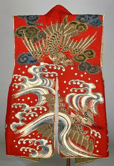 波涛飛龍模様陣羽織. Antique Japanese battle jacket. Waves.