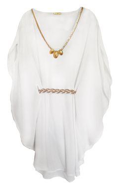 White Athens Kaftan sun dress with Braided Gold Belt, by Heather Blond | Heather Blond