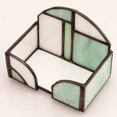 Office Accent Business Card Box in Green & White This expertly handcrafted stained glass business card holder adds just the right splash of color to your home office or shop. Plus its a great way to display information about your own shop or professional details. Shipping included. KGA# 244BC60GWSI