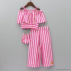 Pre Order: White And Pink Stripe Crop Top With Palazzo Pant Cute Little Girl Dresses, Dresses Kids Girl, Kids Outfits Girls, Girl Outfits, Baby Frock Pattern, Girl Dress Patterns, Baby Frocks Designs, Kids Frocks Design, Girls Fashion Clothes