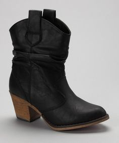 WANT!!! Take a look at this Black Short Slouch Cowboy Boot by Shully's on #zulily today!
