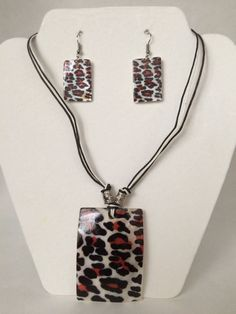 Leopard Design Necklace and Earring Set