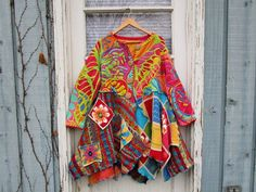 RESERVED Balance// One of a Kind Embroidered Multi Colored Bright Cardigan Sweater Coat// Upcycled// emmevielle