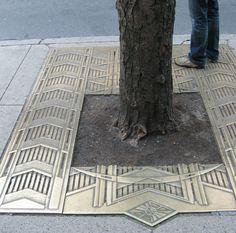 Art Deco Sidewalk grating, Rockefeller Center, New York City. i remember this