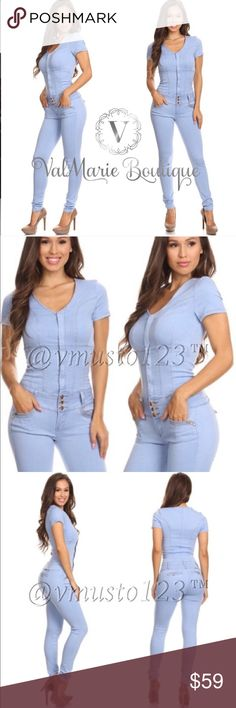 """‼️LAST ONE - DENIM SEXY FITTED JUMPSUIT Looks exactly like the photo. So sexy and sleek. Made of a super stretchy soft light Denim material. You will feel SO SEXY in this. Fits snug and fitted. Recommended sizes: S(0-2) Price is FIRM! Apprx 29.5"""" inseam but stretches to conform to your body. 💠TAG SAYS SMALL BUT FITS LIKE XS, so listing as XS💠 ValMarie Boutique Pants Jumpsuits & Rompers"""