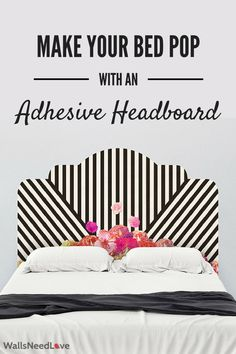 Create the perfect modernist bedroom with a wall decal that doubles as a headboard! Super easy to apply. Just peel and stick! For more decorating solutions visit wallsneedlove.com.