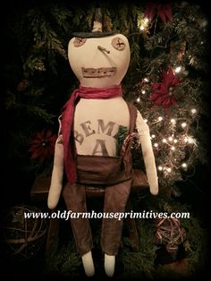 Primitive Sitting Snowman (Made In USA)