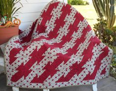 QUILT THROW BLANKET  58 x 51 inches in Green Red by TessieTextile