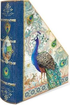 Amazon.com: Punch Studio Home Office Book Spine Magazine Holders Gold Foil Royal Peacock 54862: Home & Kitchen