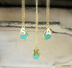 Initial Necklace Personalised Necklace Gold Silver Turquoise
