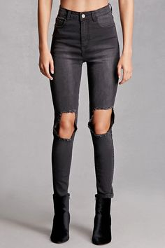 black washed high rise ripped skinny fit boyfriend jeans