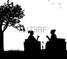 Силуэты девушек в сад пить кофе Фото со стока - 20228409