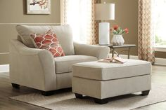 Living Room Couch With Ottoman - Ashley Lisle Nuvella Tawny Chair and a Half with Ottoman Living Room Seating, Living Room Chairs, Dining Room, Discount Furniture Stores, Compact Table And Chairs, Oversized Chair And Ottoman, Chair And A Half, Home Office Chairs, Girl Room Decor