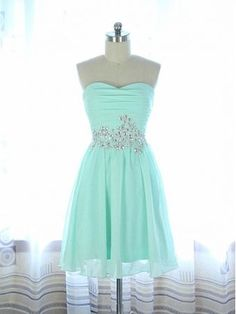 Image of Cute Handmade Mint Knee Length Beaded Prom Dress, Homecoming Dresses