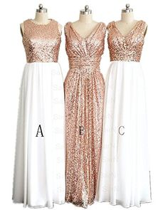 LuckyHouses Women's Rose Gold Sequins Bridesmaid Party Prom Dress (2, A(White-Rose Gold)) LuckyHouses http://www.amazon.com/dp/B01AXNGTNK/ref=cm_sw_r_pi_dp_90s5wb1BW6FWN
