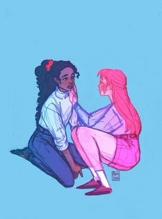 More of human Marceline and Princess Bubblegum for Femslash February. That mark on Bonnibel's cheek is a birthmark,and often a target for Marcie's kisses. Girls Girls Girls, Girls In Love, Cute Lesbian Couples, Lesbian Art, Fanart, Marceline And Princess Bubblegum, Bubbline, Adventure Time Art, Couple Art