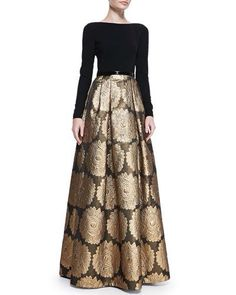 Love the balance that designer has created in this dress! Looks like million dollars but Jacquard skirt gown by Theia with banded waist. Muslim Fashion, Modest Fashion, Hijab Fashion, Indian Fashion, Dress Fashion, Style Fashion, Fashion Ideas, Indian Dresses, Indian Outfits