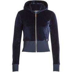 Versace Zipped Velvet Jacket ($800) ❤ liked on Polyvore featuring outerwear, jackets, blue, zipper jacket, versace, blue zipper jacket, navy jacket and blue jackets