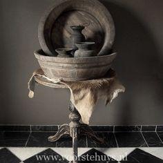 Big Bowls, Jugs, Goatskin & Table with Black Patina