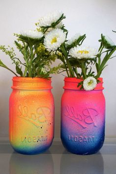 // Neon Pink and Yellow Ombre Galaxy Mason Jar, via Etsy. Daily update on my website: Inspiration! // Neon Pink and Yellow Ombre Galaxy Mason Jar, via Etsy. Daily update on my website: Vase Crafts, Fun Crafts, Diy And Crafts, Arts And Crafts, Budget Crafts, Mason Jar Projects, Mason Jar Crafts, Mason Jar Diy, Diy Galaxie