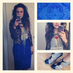 Blue skirt, leopard printed cardigan and sporty tshirt accessorised with heels and fringe - red lip necklaces. Streetstyle.
