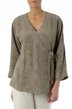 Tops | Dragonfly Print Linen Wrap Top at Sahara