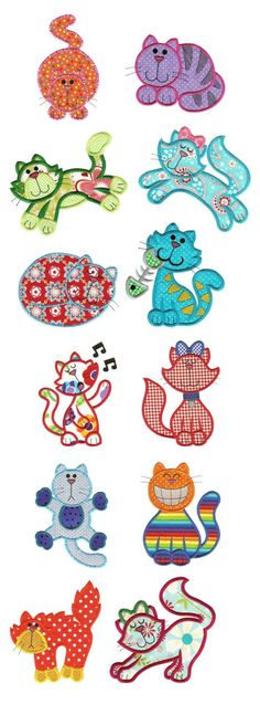 Crazy Cats Applique design set available for instant download at www.designsbyjuju.com