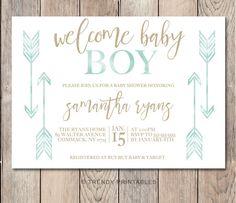 Baby Shower Invitation, Boho Baby Shower Invitations, Boy Baby Shower Invite, Boho Boy Baby Shower Invitation, Welcome Baby Boy, Custom