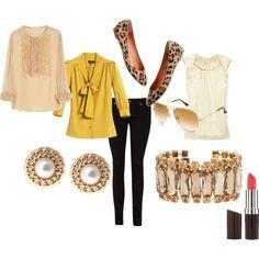 mustard blouse + leggings+ gold accents+ leopard shoes.