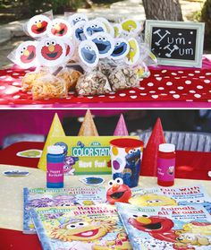 Elmo & Dorthy birthday party. Sesame street sign. Party favors = Elmo coloring book with crayons