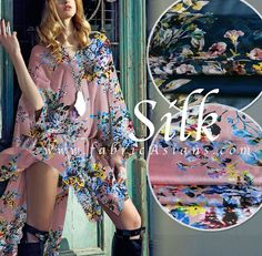 Rose print chiffon. Printed Silk fabric. Pink Rose by fabricAsians