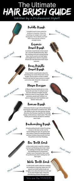 The Ultimate Hair Brush Guide; written by a professional hair stylist. The best hair brush for your hair. How to pick a hair brush for the perfect hairstyles. - We are the MAKERS Care Skin Condition and Treatment Oil Makeup Medium Hair Styles, Curly Hair Styles, Natural Hair Styles, Natural Beauty, Best Hair Brush, Curly Hair Brush, Professional Hairstyles, Professional Hair Products, Best Hair Products