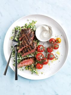 Grilled Sumac Lamb With Couscous Tabouli - Donna Hay Magazine Summer 2016 Lamb Recipes, Meat Recipes, Cooking Recipes, Healthy Recipes, Food Design, Speedy Dinners, Good Food, Yummy Food, Food Presentation