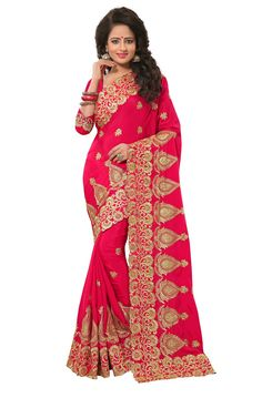 Designer Hot Pink Colour Chiffon Zari Embroidery Work Saree