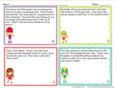 Grades 2-3: 2 Area/Perimeter Story Problems; 2 Multiplication/Division story problems