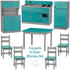 COMPLETE 8 pc KITCHEN PLAY SET - Amish Handmade Wood Toy Furniture - INDUSTRIAL SERIES