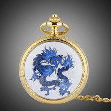 Luxury Gold Plated Men Fashion Pocket Watch Enamel Dragon Analog Clock Quartz Relojes 48CM Chain Orient Designer Relojes NW2921