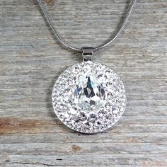 30mm Swarovski Crystal Steel pendant - Surgical Steel Jewelry - sparkle crystal and steel necklace by SteelJewelryShop on Etsy