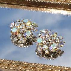 Vintage Sherman Signed Aurora Borealis Cluster Earrings 50