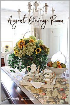 Late Summer, Autumn Summer, Fall, Dinning Room Tables, Dining Rooms, Vintage Porch, Summer Porch, French Country Cottage, Slipcovers For Chairs