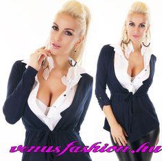 Elegáns fehér sötétkék business stílusú női ing kardigán