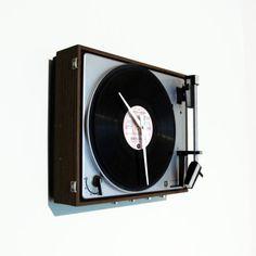 Wanduhr Plattenspieler Retro Arbeitszimmer Uhr Unikat Besonderes Geschenk