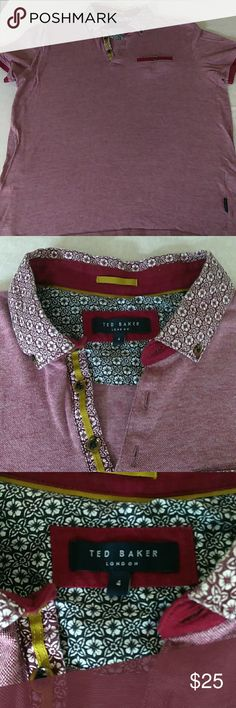 Ted Baker floral collar polo Great condition Ted Baker polo Men's size 4 Ted Baker Shirts Polos
