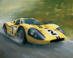 """1967 Le Mans 24 - """"Yellow depicts the Ford Mk IV piloted by Bruce McLaren (NZ) and Mark Donohue (USA) that finished fourth in the 1967 Le Mans Artwork by Gerald Freeman Ford Gt40, Ford Expedition, Cadillac Fleetwood, Jaguar Type E, Audi, Porsche, Le Mans 24, Automobile, Pretty Cars"""
