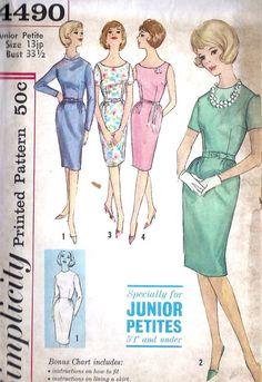 1960s Junior Petites Sheath Dress Vintage Sewing Pattern, Mad Men, Wiggle Dress, Simplicity 4490 bust 33.5 uncut via Etsy