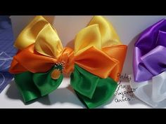 Satin Ribbon Flowers, Ribbon Hair Bows, Diy Hair Bows, Diy Bow, Bow Hair Clips, How To Make Ribbon, Ribbon Making, Ribbon Flower Tutorial, Flower Video