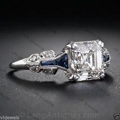 2-25-Ct-Asscher-Cut-Diamond-Art-Deco-Engagement-amp-Vintage-Sterling-Silver-Ring